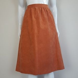 Vintage Burnt Orange Faux Suede Midi Skirt